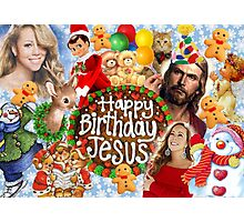 Happy Birthday Jesus Xmas Christmas collage 2 Photographic Print