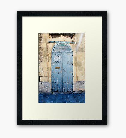 Blue weathered door Framed Print