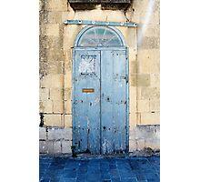 Blue weathered door Photographic Print