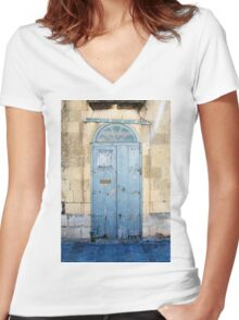 Blue weathered door Women's Fitted V-Neck T-Shirt