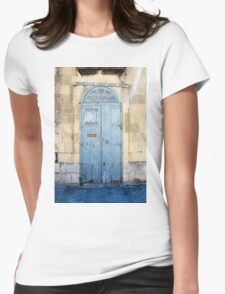 Blue weathered door Womens Fitted T-Shirt