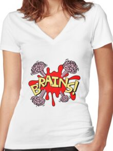 Brains! Women's Fitted V-Neck T-Shirt