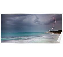 Lightning over Burns Beach Poster