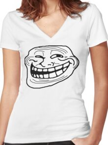 Trollface Women's Fitted V-Neck T-Shirt