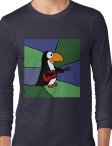 Awesome Penguin Playing Red Guitar Long Sleeve T-Shirt