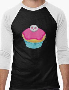 Skull Cupcake (pink) Men's Baseball ¾ T-Shirt