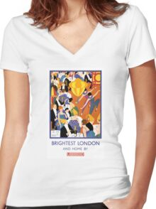 Brightest London Vintage Poster Restored Women's Fitted V-Neck T-Shirt