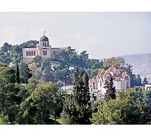 View of Athens Observatory and St. Marina temple  Photographic Print