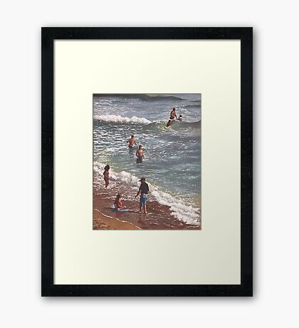 people on bournemouth beach waves and people Framed Print