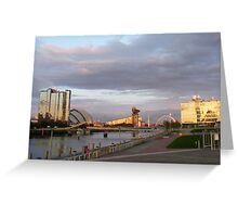 Sunset on the River Clyde 2, Glasgow Greeting Card