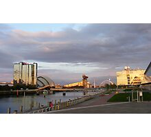 Sunset on the River Clyde 2, Glasgow Photographic Print