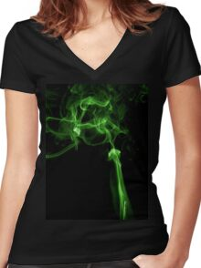 Green matrix style smoke T shirt Women's Fitted V-Neck T-Shirt