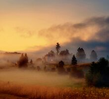 Misty village by Stevacek