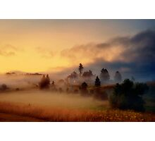 Misty village Photographic Print