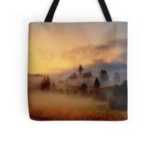 Misty village Tote Bag