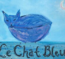 Le Chat Bleu (mixed media) by Niki Hilsabeck