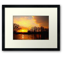 Late Evening Over the River Tees, Swine Lairs Farm River Ford. England Framed Print
