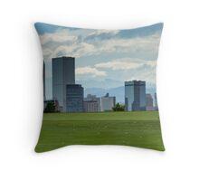 Skyline over the green Throw Pillow