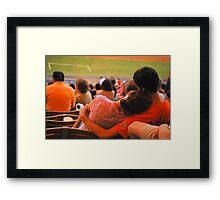 Romance At Baseball Game Framed Print