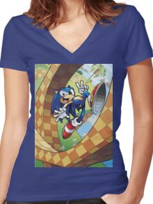 sonic on the run Women's Fitted V-Neck T-Shirt