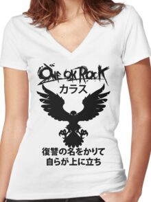 Karasu (カラス) [Black] Women's Fitted V-Neck T-Shirt
