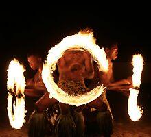 Fire dancers, Fiji by J Forsyth