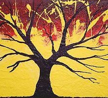 Dream Tree in yellow wall art Original print painting decor art starry night tree of life by wrightsonarts
