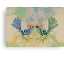 little love birds blue Canvas Print