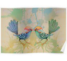 little love birds blue Poster