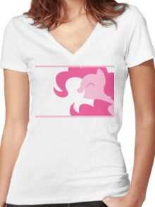 Pinkie Pie silhouette Women's Fitted V-Neck T-Shirt