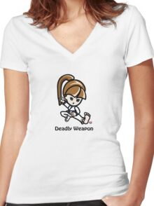Martial Arts/Karate Girl - Deadly Weapon Women's Fitted V-Neck T-Shirt