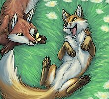Playful foxes by jccat
