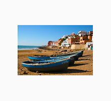Blue fishing boats in Ahrud near Agadir, Morocco Unisex T-Shirt
