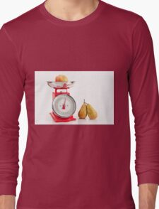 Kitchen red weight scale utensil Long Sleeve T-Shirt