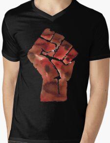 Black Power Fist Mens V-Neck T-Shirt