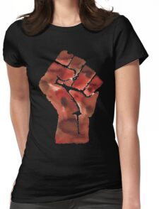 Black Power Fist Womens Fitted T-Shirt