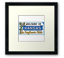 Welcome to Kansas Sign Vintage 50s Framed Print