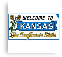 Welcome to Kansas Sign Vintage 50s Canvas Print