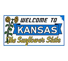 Welcome to Kansas Sign Vintage 50s Photographic Print