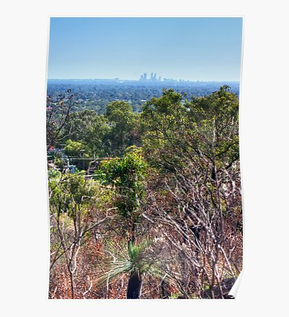 Perth city from Kelmscott hills Poster