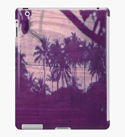 Purple Palm Trees on Wood iPad Case/Skin