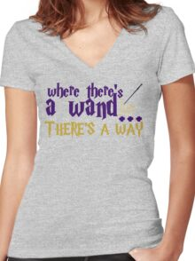 Where there's a wand, there's a way! Women's Fitted V-Neck T-Shirt