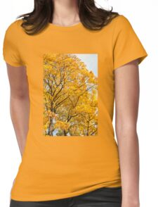 Yellow leaves autumn trees Womens Fitted T-Shirt
