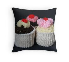 knitted cupcakes, yummy!! Throw Pillow