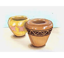 Handmade Pots with African design Photographic Print