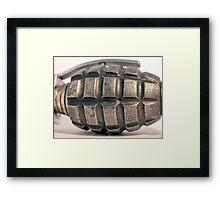 up close hand grenade Framed Print