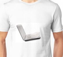 books lying on keyboard of grey laptop Unisex T-Shirt