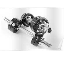 Chrome bolt on hand barbells weights Poster