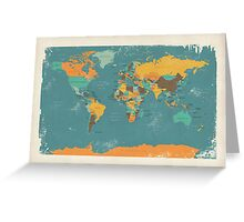 Retro Political Map of the World Greeting Card