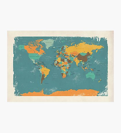 Retro Political Map of the World Photographic Print